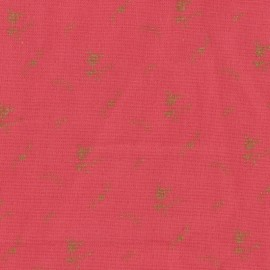 Double cotton gauze fabric with flowers France Duval- red gold x 10cm
