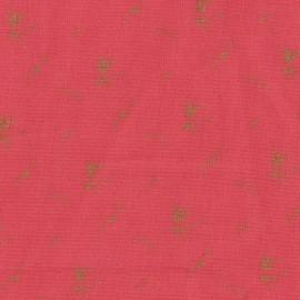 Tissu double gaze de coton à fleurs France Duval - coquelicot /or x 10cm