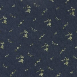 Double cotton gauze fabric with flowers France Duval- blue gold x 10cm