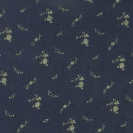 Tissu double gaze de coton à fleurs France Duval - marine /or x 10cm