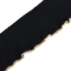 Bande bord côte coton bio (110x8cm) - noir doré