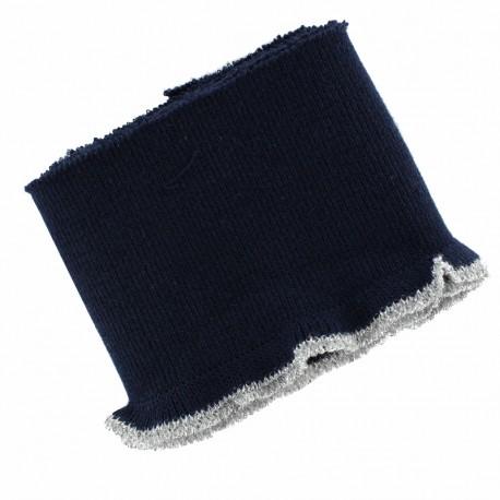 Organic cotton ribbed strip (110x8cm) - blue silver