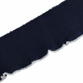 Bande bord côte coton bio (110x8cm) - marine argent