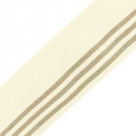 Bande bord côte rayures coton bio (110x7cm) - crème doré