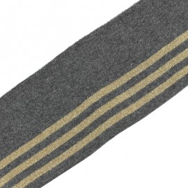 Bande bord côte rayures coton bio (110x7cm) - gris doré
