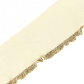 Bande bord côte à volant coton bio (110x8cm) - crème doré