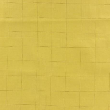 Tissu double gaze de coton à carreaux France Duval - banane /argent x 10cm