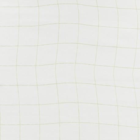 Tissu double gaze de coton à carreaux France Duval - blanc /argent x 10cm