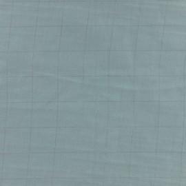 Tissu double gaze de coton à carreaux France Duval - vert de gris /argent x 10cm