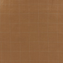 Tissu double gaze de coton à carreaux France Duval - camel /argent x 10cm