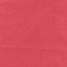 Double cotton gauze fabric Square France Duval- red /silver x 10cm