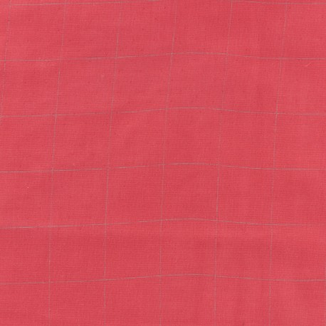 Tissu double gaze de coton à carreaux France Duval - rouge coquelicot /argent x 10cm