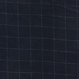 Tissu double gaze de coton à carreaux France Duval - marine /argent x 10cm