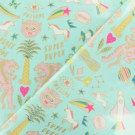 Tissu coton enduit Rico Design Funtastic - turquoise or x 10cm