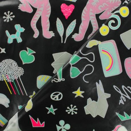 Tissu coton enduit Rico Design Funtastic - noir argent x 10cm