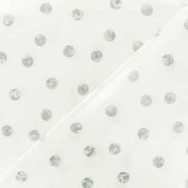 Coated cotton fabric silver dot by Rico Design-  white x 10cm