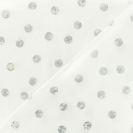Tissu coton enduit Rico Design pois argent - blanc x 10cm