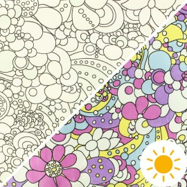 Tissu Oeko-Tex Jersey Photosensible - fleurs x 10cm