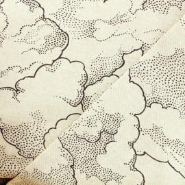 Tissu toile polycoton nuage noir Thevenon - naturel x 10cm