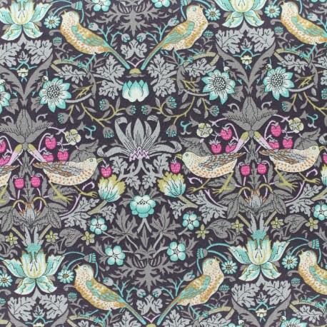 Tissu Liberty - Strawberry Thief - chocolat x 10cm