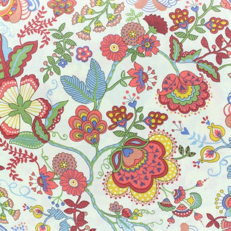 Tissu Liberty - Mabelle- rouge x 10cm