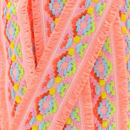 Maya fringed braid - neon coral x 50cm