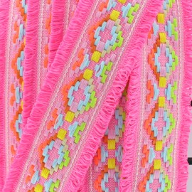 Galon frange Maya - fuchsia x 50cm