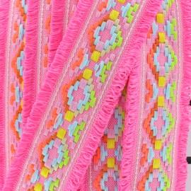 Maya fringed braid - fuchsia x 50cm