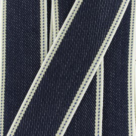 Ruban élastique sergé denim (40 mm) - bleu x 50cm