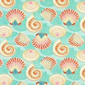 Coated cotton fabric Salines - turquoise x 10cm