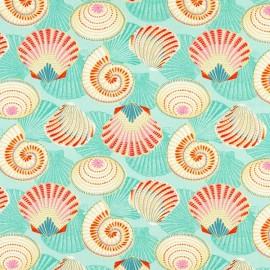 Tissu coton enduit Salines - turquoise x 10cm