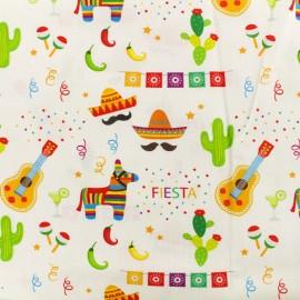 Tissu Popeline de coton Fiesta - multi et blanc x 10cm
