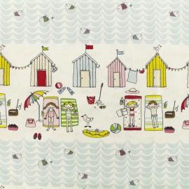 Popeline cotton fabric Fiesta - multi and white x 10cm
