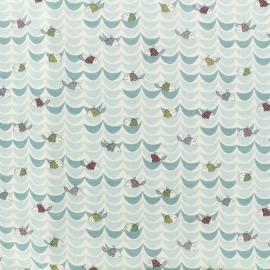 Tissu Popeline de coton Sunny day B - multi et blanc x 10cm