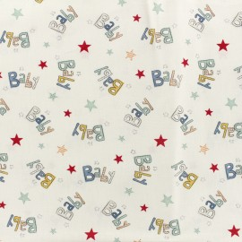 Popeline cotton fabric baby zoo B - multi and white x 10cm