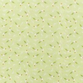 Tissu Popeline de coton Loro platano - vert clair x 10cm