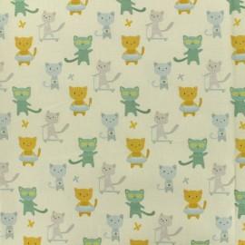 Tissu Popeline de coton Chat-perlipopette - vert et écru x 10cm