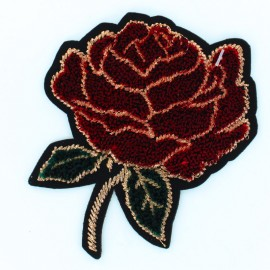 Embroidered rose iron on patch 8x8cm