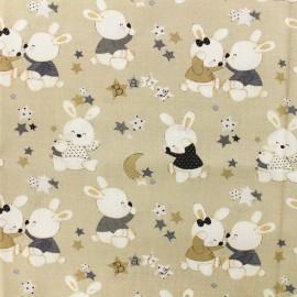 Popeline cotton fabric Baby rabbit A - light brown x 10cm