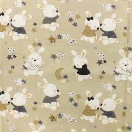 Tissu Popeline de coton Baby rabbit A - beige x 10cm