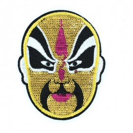 Gold sequin mask iron on patch 6.5x8.5cm