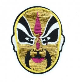 Thermocollant Masque Paillettes doré 6.5x8.5cm
