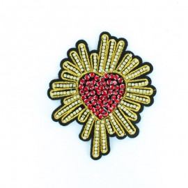 Embroidered glowing heart iron on patch 9.5x17.5cm