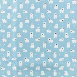 Tissu Popeline de coton Ours blanc - bleu x 10cm