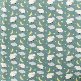 Tissu Popeline de coton Sweet dreams - vert de gris x 10cm