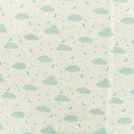 Tissu Popeline de coton Ciel étoilé - bleu x 10cm