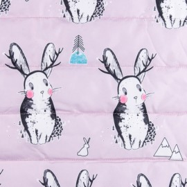 Nylon quilted lining fabric Lovely bunny - multi x 15cm