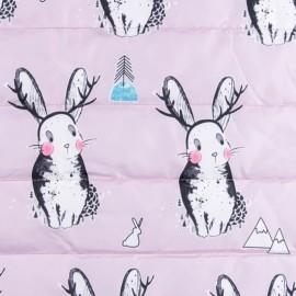 Tissu matelassé nylon doudoune Lovely bunny - rose x 15cm