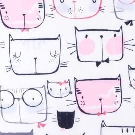Tissu matelassé nylon doudoune Cat faces - rose et blanc x 15cm