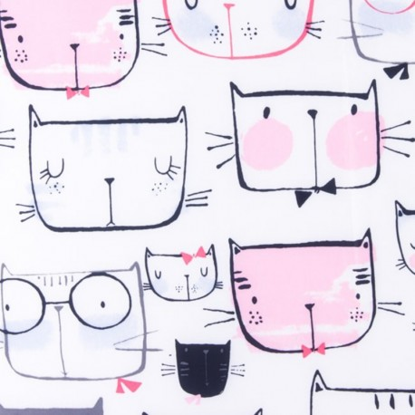 Nylon quilted lining fabric Cat faces - pink and white x 15cm